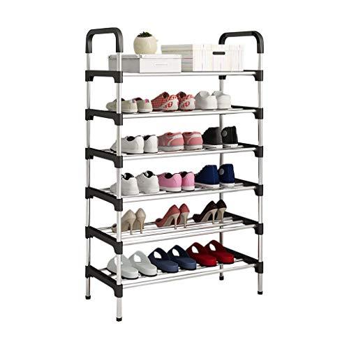 MJY Roses de Zapatos Organiza Pasillo Zapato Estante Gabinete de Alenamiento Puerta Hogar Simple Apartamento Dormitorio Alenamiento Estante Zapato Cabinete Recoger Soldries,Negro,6 Capas