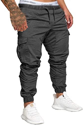Socluer Herren Chino Jeans Cargo Freizeit Casual Regular Fit Sport Elastische Taille Hose