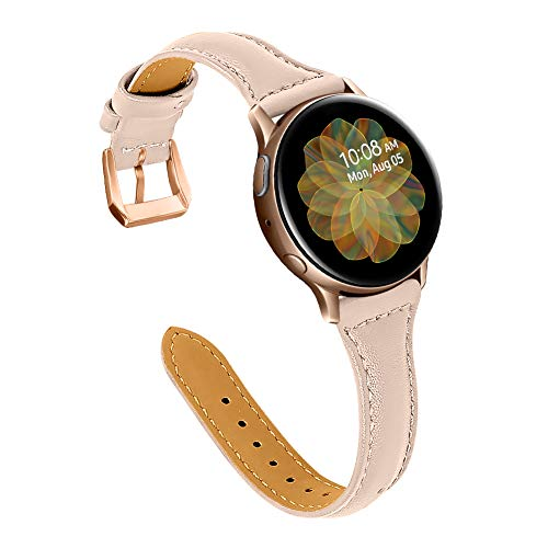 Joyozy Leather Band Compatible with Samsung Galaxy Watch Active(40mm)/2(40mm), (44mm), Stylish Slim Wristband Strap for Galaxy Watch 42mm/Gear S2 Classic SM-R732/735 and More (Beige/Rose Gold)