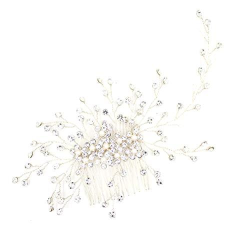 Peine de novia de gama alta Cristal de perlas Zarcillos de pelo...