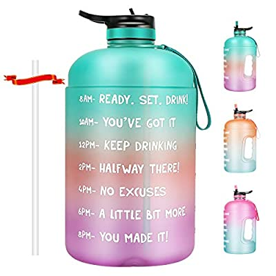Aitsite Motivational Water Bottle 128oz Half Gallon Jug with Straw and Time Marker Large Capacity Leakproof BPA Free Fitness Sports Water Bottle (Green/Purple Gradient)