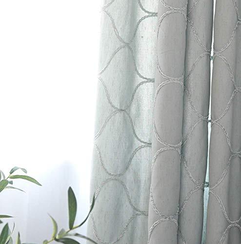 TYP Mall Nordische Vorhänge Idyllische Erkerfensterdekoration des Amerikanischen Landes Skandinavischer Mediterraner Stil Wohnzimmer Schlafzimmer Faul Trennvorhang (1 Stück),Blau,150x270cm