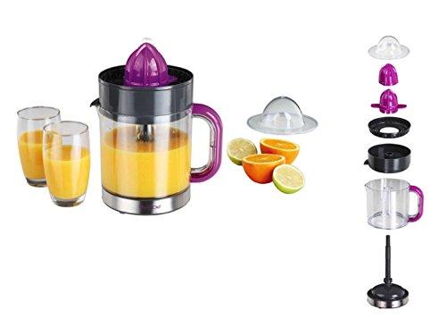 Elektrische Zitruspresse mit Ausgießer Orangen-Presse Saftpresse (Entsafter, Behälter 1,2 Liter, 2 Presskegel, Zerlegbar, Grau Pink)
