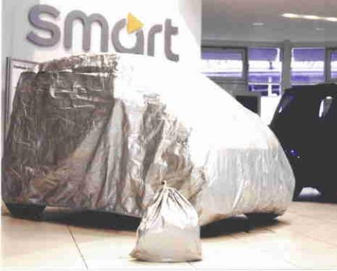 Kley & Partner Autoabdeckung Vollgarage Ganzgarage kompatibel mit Smart fortwo 450 in Silber Exclusiv aus Tyvek mit Lagerbeutel