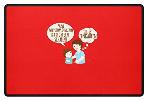 Schuhboutique Doris Finke UG (haftungsbeschränkt) Papa Ding Kartoffeln schälen - Fußmatte -60x40cm-Rubinrot