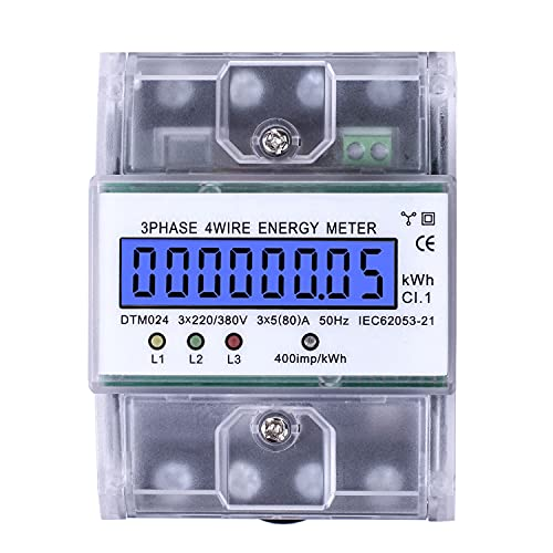 Stromzähler 220 / 380V 5-80A Energieverbrauch Digitaler Stromzähler Wechselstromzähler 3-Phasen 4-Draht KWh Zähler mit LCD Zwischenzähler Wechselstromzähler für DIN...