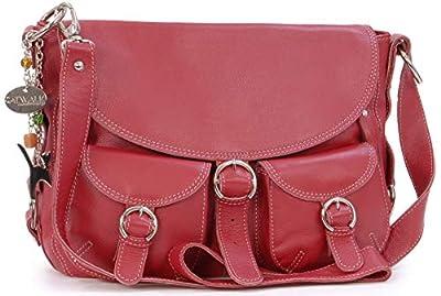 Catwalk Collection Handbags - Cuir Véritable - Sac à Main/Sac Bandoulière/Sac Besace avec Rabat/Sac Porté Croisé - Femme - COURIER - Rouge