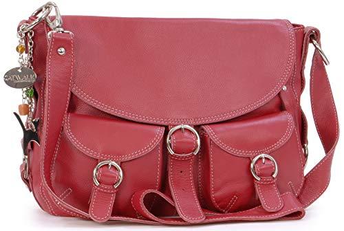 Catwalk Collection Handbags - Vera Pelle - Borse a Tracolla/Borsa a Mano/Messenger/Borsetta Donna - Con Ciondolo a Forma di Gatto - Courier - ROSSO