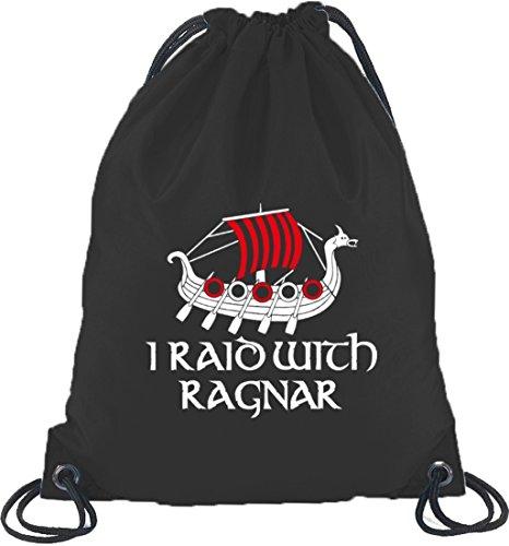 Shirtstreet24, I RAID WITH RAGNAR, Vikings Turnbeutel Rucksack Sport Beutel, Größe: onesize,Schwarz