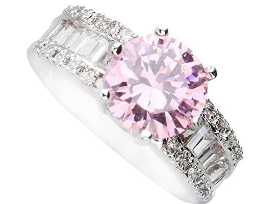 BQZB Ring Ausgezeichnete Rosa Kunzit 9 * 9mm Halbedelstein Silber Cool Für Frauen Ring