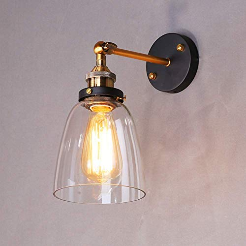 Asvert Industrie Wandleuchte Glas Shade Vintage Wandbeleuchtung Retro Industrial Wandlampe E27 Anhänger Küche Industire Lampe für Esstisch Esszimmer Loft Schlafzimmer Cafes Bar usw. (Transparent)