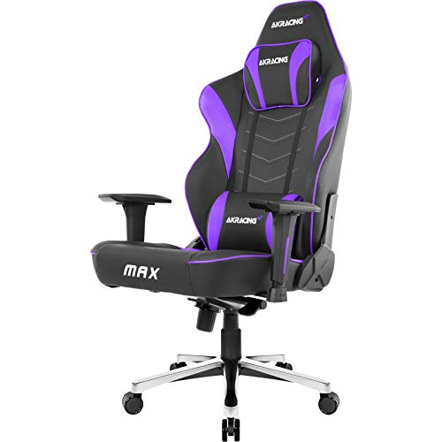 AKRacing Masters Series Max Gaming Chair with Wide Flat Seat, 400 Lbs Weight Limit, Rocker and Seat Height Adjustment Mechanisms - Black/Indigo