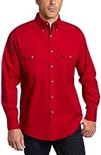 Wrangler mens Western Long Sleeve Work button down shirts, Red, Medium US