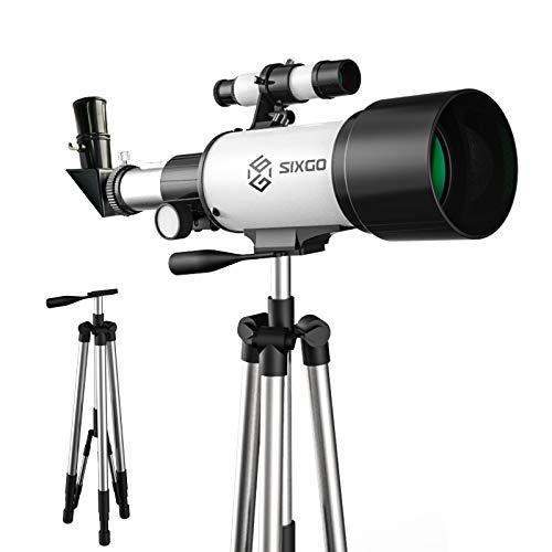 Astronomisches Telescope SIXGO Teleskop für Kinder und Anfänger Astronomy 70/300 Objektiv Refraktor Teleskop (15x-150x) mit Verstellbarem Stativ Sucherfernrohr und Smartphone Adapter