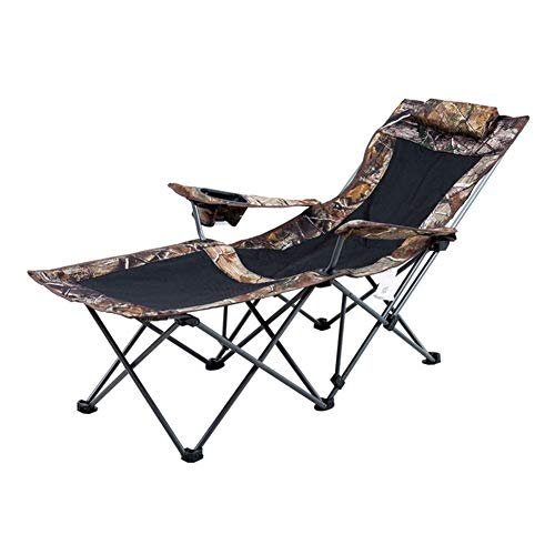 YVX Camouflage Sunbed Lounge Chair Folding Sun Bed Outdoor Garden Loungers and Recliners Chairs with Breathable Synthetic Fabric Rust-Resistant (Color : Green)