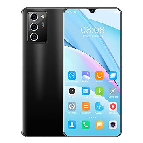 Teléfono Inteligente NOTE60pro Android con Pantalla De Caída De Agua De 7 Pulgadas con Memoria 12GB + 512GB Teléfono Inteligente Barato (Color : Black)