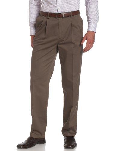 Savane Men's Big and Tall Pleated Performance Chino Pant, Shale, 40W x 36L