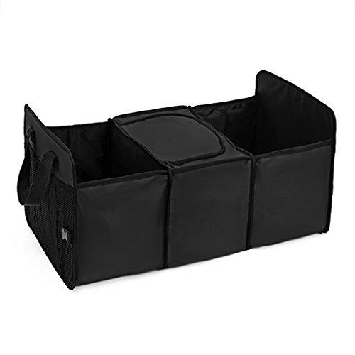 YJZQ Organiseur de Voiture Coffre de Stokage Pliable Boîte de Rangement Sac Support Portable Sac de Rangement avec Divisions de Compartiement de Filme Isotherme pour Voiture Camion Cargaison Pick-up