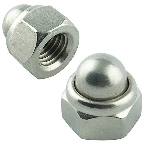 Eisenwaren2000 | M10 Sechskant-Hutmuttern selbstsichernd (5 Stück) - DIN 986 - Edelstahl A2 V2A - rostfrei