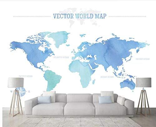 3D behang interieurdecoratie beschildering persoonlijkheid behang eenvoudig nostalgie klassiek blauw landkaart achtergrond behang decoratie voor thuis 300*210 F