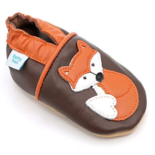 Dotty Fish weiche Leder Babyschuhe mit rutschfesten Wildledersohlen. 3-4 Jahre (27 EU). Brauner Schuh mit Orangenfuchs. Jungen und Mädchen. Kleinkind Schuhe.