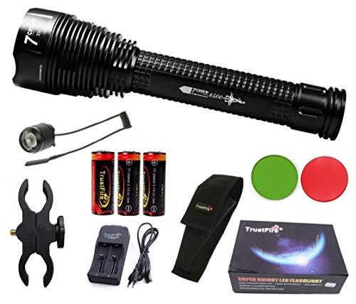 Linterna Trustfire J18 7 Led CREE XML-T6-5000 mAh Trustfire 26650-8500lm / 1 Modo / 3 baterías. Aguardos, vigilancia, caza, linterna de gran alcance (C - Linterna Kit completo)