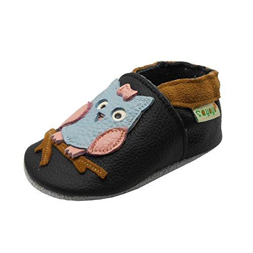 SAYOYO Baby Eule Lauflernschuhe Leder Weiche Sohle Baby Mädchen Baby Jungen Kugelsicherer Krippe Enfants Schuhe 17/18 (0-6) S Monate, Schwarz