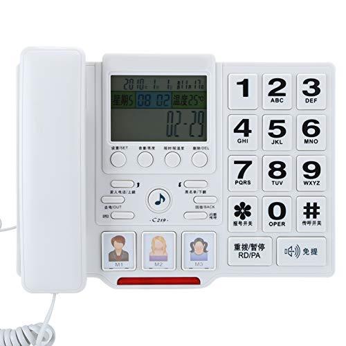 Dilwe Teléfono con Cable W288, teléfono de Escritorio, teléfonos fijos de Oficina, teléfono Fijo doméstico, teléfono con Cable Multifuncional para la Oficina del Hotel en casa