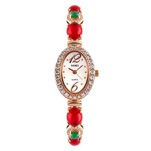 Ladies Watch/Uhren Quarz Wasserdicht/-Schleifenband Kupfer, elegant, Temperament von Mode-Rouge