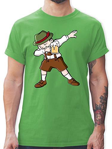 Oktoberfest & Wiesn Herren - Dabbing Character in Lederhosen - M - Grün - Lederhose - L190 - Tshirt Herren und Männer T-Shirts