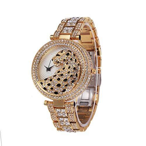 HETUI Cheetah With Diamond Steel Belt Women's Watch Full Diamond Quartz Watch(Gold1)