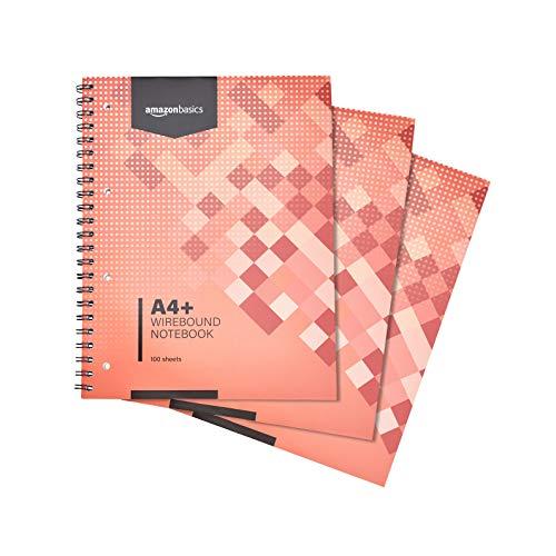 AmazonBasics - Quaderno per appunti a spirale, 200 pagine, formato A4+, 80 g/m², (confezione da 3)