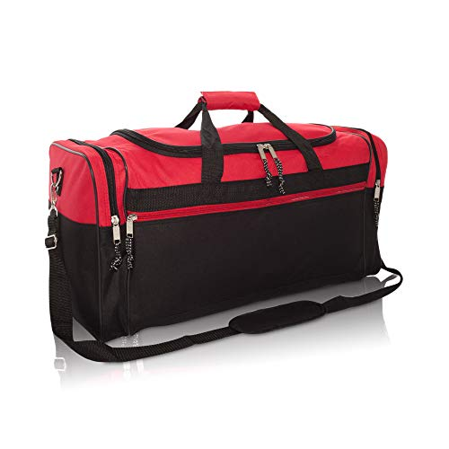 """DALIX 25"""" Extra Large Vacation Travel Duffle Bag in Red and Black"""