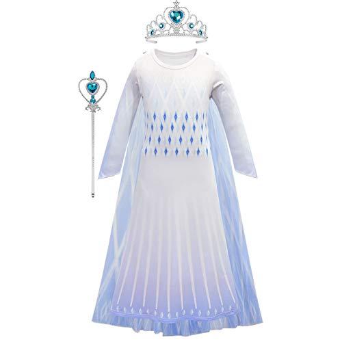O.AMBW Elsa Disfraz Nia Reina de las Nieves 2 Princesa Falda Vestido azul Gasa neta Estampado de manga larga Fiesta temtica Juego de roles Mascarada Carnaval Navidad Halloween Chica Regalo 110-150cm