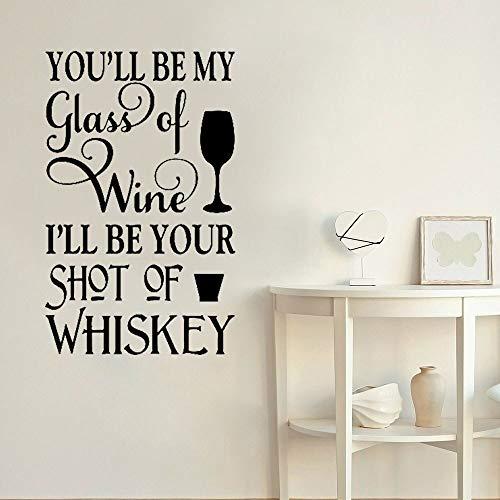 Vinilos decorativos para bares, tú serás mi copa de vino y yo seré tu vinilo adhesivo mural romántico para vitrinas