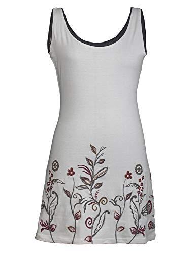 Vishes - Alternative Bekleidung - Ärmelloses Blumenshirt Blumenkleid Bedruckt und Bestickt aus Baumwolle weiß 40