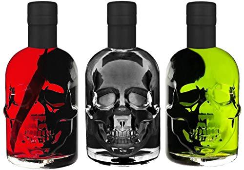 Absinth Totenkopf Trio je 0,5L Green/Black/Red Chili Mit max. erlaubtem Thujon 35mg/L 55%Vol