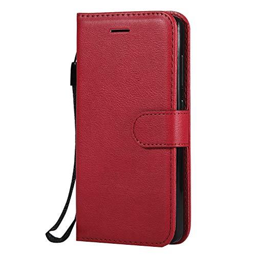 Hülle für Xiaomi Redmi 4A Hülle Handyhülle [Standfunktion] [Kartenfach] Tasche Flip Hülle Cover Etui Schutzhülle lederhülle flip case für Xiaomi Redmi 4A - DEKT051874 Rot