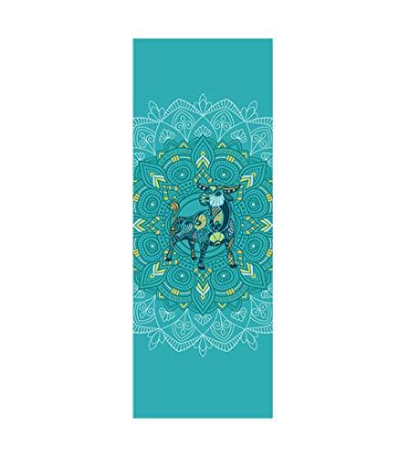 AGAGRG Esterilla de yoga con estampado de Tauro verde, antideslizante, esterilla de yoga Tpe Eco, de 6 mm, ultrafina, unisex, para el hogar, gimnasio, fitness, pilates, aeróbico, yoga caliente