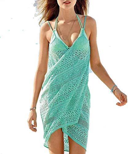 ZYLL 2 in 1 Handtuch Kleid, Spitzen Frauen-Strand-Vertuschung-Kleid-Isolationsschlauch-Bügel-Bikini-Badeanzug-Wickelkleid,Grün