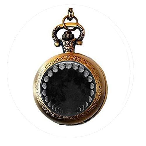 lukuhan Wicca-Anhänger Halskette Mondphasen Mondnebel Taschenuhr Halskette