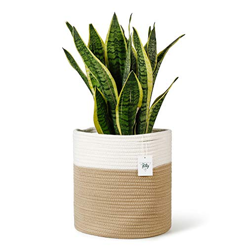 POTEY 700803 Cotton Rope Woven Plant Basket Modern Woven Basket for 11