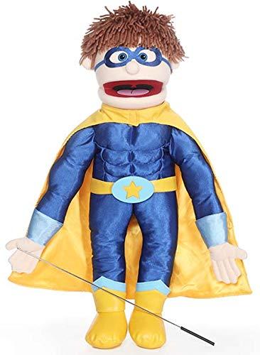 Superhéroe, chico melocotón, cuerpo completo, marioneta estilo ventrilocuo.