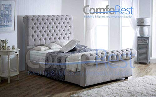 ComfoRest, Bedding & Upholstery Innovation Leader Chesterfield Sleigh Bed Frame - NO Mattress - Seal Grey Naples Velvet (4FT - Small Double)