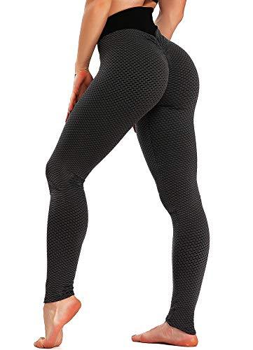 INSTINNCT Damen Slim Fit Hohe Taille Booty Lange Leggings mit Bauchkontrolle Laufhose Fitnesshose Sporthose Tights A-Karo-Schwarz S