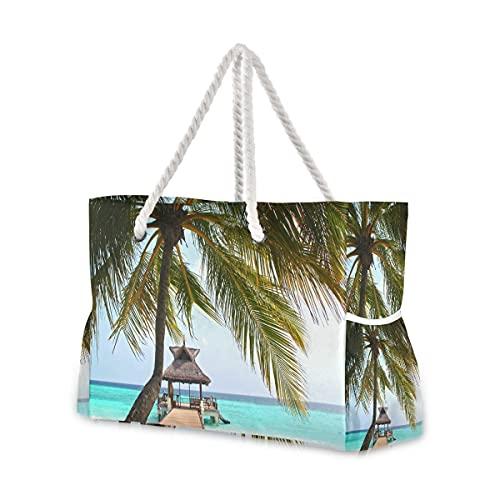 Bolsas de playa grandes Totes de lona Bolsa de hombro Beach-Sea-Tree-Water Ocean-Sky-757464-Pxhere Bolsas resistentes al agua para gimnasio, viajes diarios