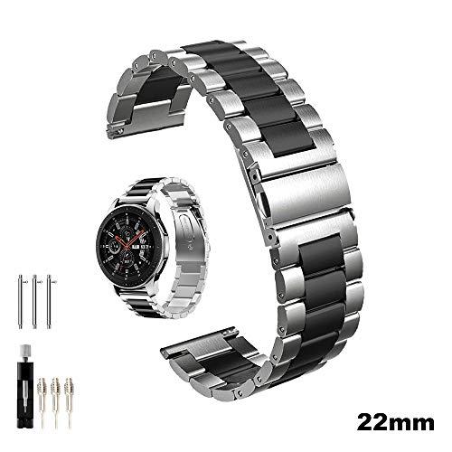 Cavalrywolf Galaxy Watch 46mm/Gear S3 Frontier/Classic Watch Armband, 22mm Edelstahl Metall Uhrenarmband Ersatzband für Samsung Gear S3 Watch (Metall Schwarz+Silber)