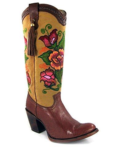 Cuadra Damen Cowboystiefel Westernstiefel Schlangenleder Tamarindo 1Z24PH_2, Größe:39, Farbe:Tamarindo