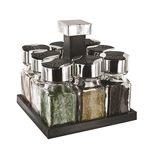 Saveur et Degustation kb5754Carrusel de Especias (Cuadrado con 8tarros/Tapa Cristal/plástico Transparente/Negro...