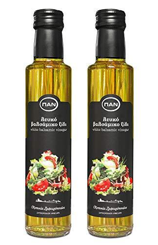 Premium Balsamico Essig weiss | ohne Zucker Zusatz, mit natürlichem Zucker , mild | Original aus Griechenland | 2x 250ml Glas-Flasche